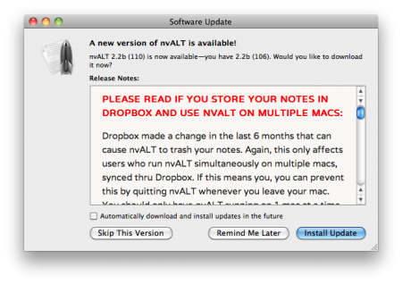 You never want to see Red text in an update window…